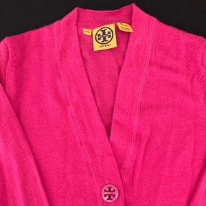 Tory Burch Bright Pink Cardigan Sweater Size Small